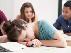 A student sleeping in class