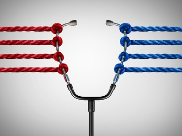 Opposing red and blue ropes pulling on a stethoscope