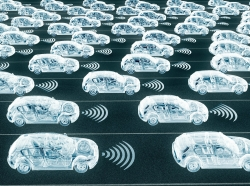 Depiction of self-driving cars in road lanes