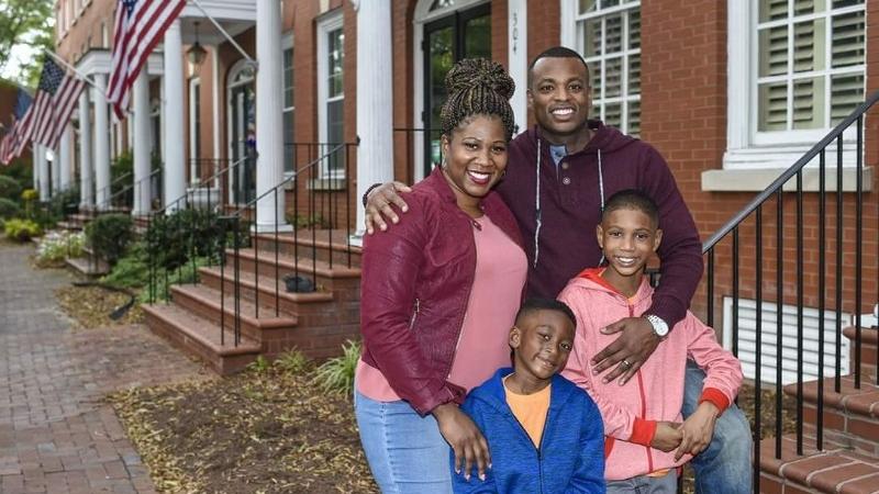 Taniki (Jones) Richard with her husband Brandon Richard and sons Jermaine and Terry in Chesapeake, Virginia