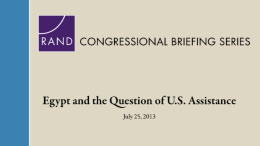 Egypt and the Question of U.S. Assistance