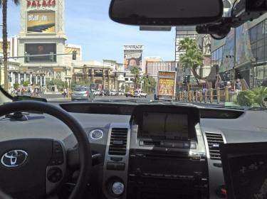 A Google self-driven car in Las Vegas, Nevada
