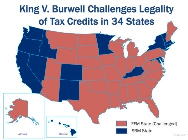 King v. Burwell Challenges Legality of Tax Credits in 34 States Map