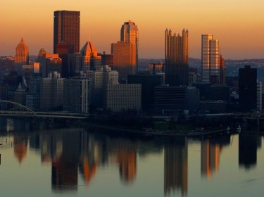 Downtown Pittsburgh, PA at sunset from the Westend overlook