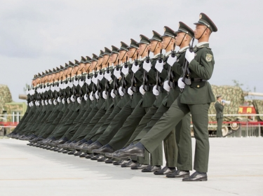 Soldiers of China's People's Liberation Army march during a training session for a military parade, Beijing, September 1, 2015