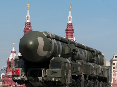 A mobile nuclear-capable intercontinental ballistic missile (Topol-M 187) in Red Square during a military parade in 2010.