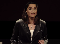 RAND's Kathryn Bouskill speaks at a TEDxManhattanBeach event.
