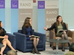 "Sylvie Lanteaume, Cortney Weinbaum, Elsa B. Kania, and Stacie Pettyjohn discuss ""Technology as a Battlefield Game Changer"" at the 2018 Roberta Wohlstetter Forum on National Security."