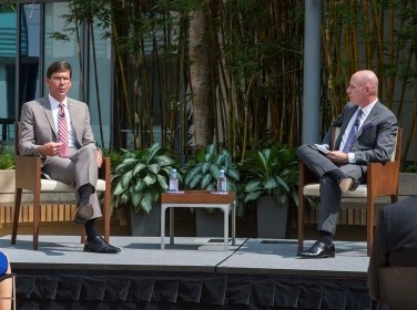 U.S. Secretary of Defense Mark Esper in discussion with Ted Harshberger, director of RAND Project AIR FORCE