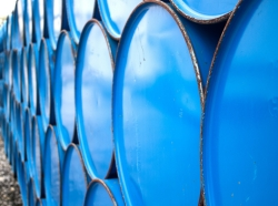 Blue oil barrels