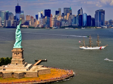 The Coast Guard Cutter Eagle sails toward New York Harbor to anchor at the Statue of Liberty, August 4, 2011