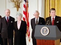 east room, podium, speeches