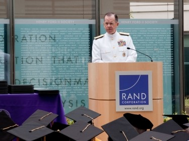 Adm. Mike Mullen presents the keynote address at the 2010 Pardee RAND Graduate School 40th Anniversary Commencement