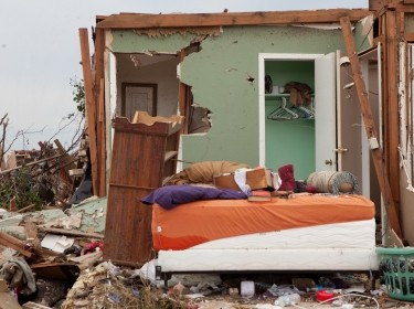 A destroyed home in Moore, OK, where an F5 tornado struck on May 20, 2013
