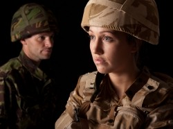 military woman and man in uniforms