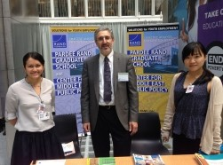 Pardee RAND doctoral candidates Nelly Mejia and Crystal Huang with RAND senior economist Peter Glick