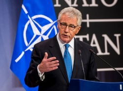 U.S. Defense Secretary Chuck Hagel holds a news conference at NATO headquarters in Brussels, Feb. 5, 2015