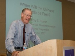 Henry Rowen giving a briefing at RAND on the future of China, June 14, 2007