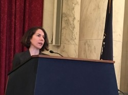 RAND senior economist Christine Eibner speaks at a symposium about health care reform on Capitol Hill, November 18, 2016
