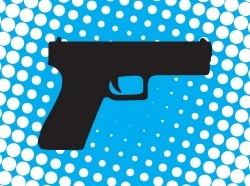 Black handgun on a blue and white background