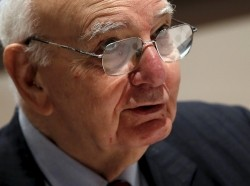 Former U.S. Federal Reserve Board Chairman Paul A. Volcker at a news conference in New York, June 8, 2015, photo by Mike Segar/Reuters