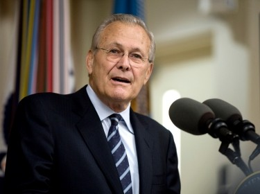Former Defense Secretary Donald H. Rumsfeld addresses the audience during his portrait unveiling ceremony at the Pentagon, June 25, 2010, photo by Cherie Cullen/U.S. Department of Defense