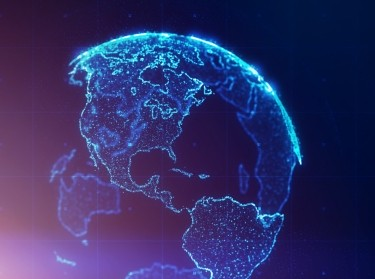 3D globe with continents outlined in blue