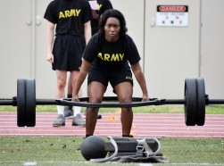 Staff Sgt. Sharonica White completes a deadlift repetition during the U.S. Army Japan 2020 Army Week's Army Combat Fitness Test Fitness Warrior Competition at Camp Zama, Japan, June 8, 2020, photo by Winifred Brown/U.S. Army