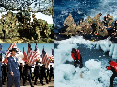 Composite image of soldiers, sailors, airmen, and Coast Guard personnel