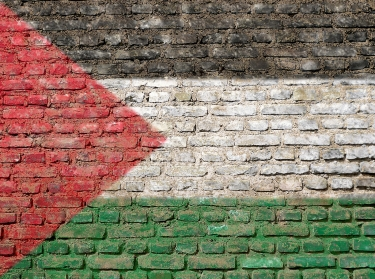Palestinian flag painted on wall