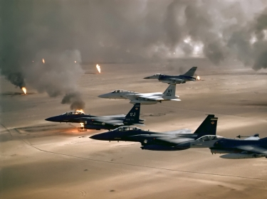 F-16A, F-15C and F-15E flying during Desert Storm.