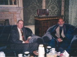 James Dobbins with Hamid Karzai in the Presidential Palace in Kabul, Afghanistan, December 2001
