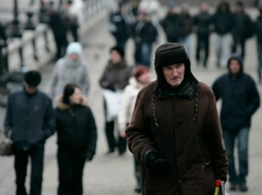An elderly man near Red Square in Moscow
