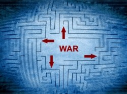 The word 'war' in the middle of a maze