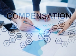 A composite image of business people meeting around a table and symbols representing concepts related to compensation.