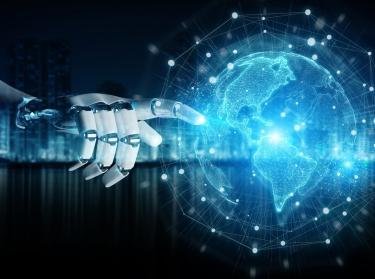 Intelligent robot cyborg using digital globe interface 3D rendering, photo by sdecoret/Adobe Stock