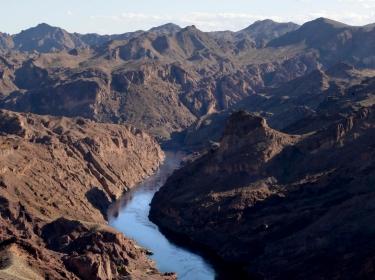The Colorado River flows through Black Canyon, south of Hoover Dam