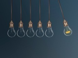 Newton's cradle light bulbs