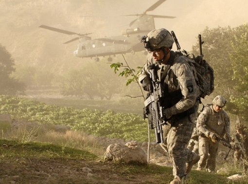 Soldiers from A Company, 101st Division Special Troop Battalion air assault into a village inside Jowlzak valley, Parwan province, Afghanistan