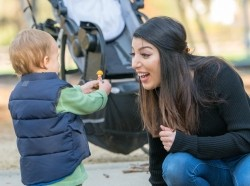 Italian woman and toddler