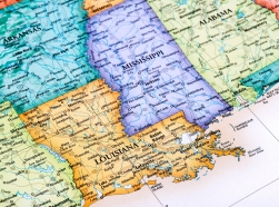 Map focusing on Louisiana and MIssissippi