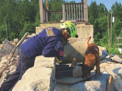 Lorton, Virginia, June 6, 2017: Elizabeth and Ventoux, a canine/handler team with Virginia Task Force 1, participate in a training drill. They practiced searching for people trapped within the rubble pile.