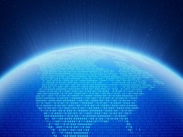 Digital globe, focus on North America