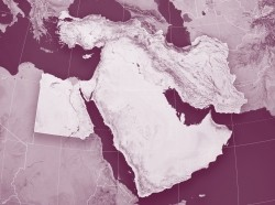 3-D render and image composing of a topographic map of the Middle East region. Including borders, rivers and accurate longitude/latitude line, photo by FrankRamspott