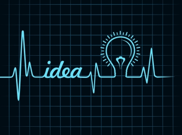 graphic concept of heartbeat with idea and lightbulb