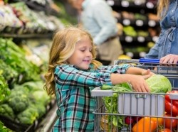 Girl placing a cabbage in her mother's grocery cart