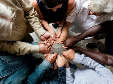 Group of people holding hands, aerial view