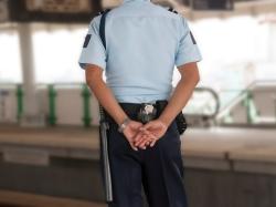 Policeman standing guard