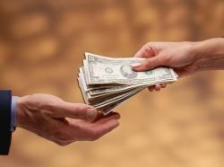 money changing hands