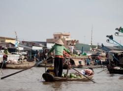 Vietnamese woman paddling a boat
